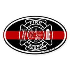 Firefighter Thin Red Line Oval Decal