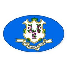 Connecticut State Flag Oval Sticker (10 pk)