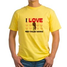 I Love Red-Tailed Hawks Yellow T-Shirt
