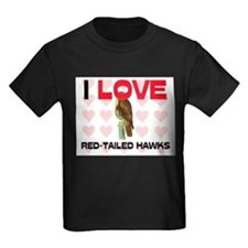 I Love Red-Tailed Hawks Kids Dark T-Shirt