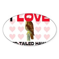 I Love Red-Tailed Hawks Oval Sticker