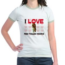 I Love Red-Tailed Hawks Jr. Ringer T-Shirt