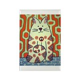 Peace Cat Original Funky Art Rectangle Magnet