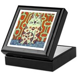 Peace Cat Original Funky Art Keepsake Box