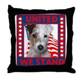 Wire Fox Terrier with flag Throw Pillow