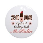 Lipstick Country First McPalin Ornament (Round)