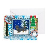 Scrapbook Dachshund Christmas Greeting Card