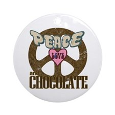Peace Love and Chocolate Ornament (Round)
