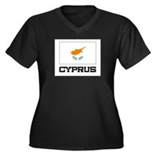 Cyprus Flag Women's Plus Size V-Neck Dark T-Shirt
