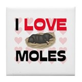 I Love Moles Tile Coaster