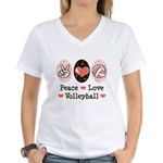 Peace Love Volleyball Women's V-Neck T-Shirt