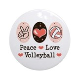 Peace Love Volleyball Ornament (Round)