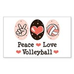 Peace Love Volleyball Rectangle Sticker
