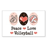 Peace Love Volleyball Rectangle Sticker 50 pk)
