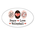 Peace Love Volleyball Oval Sticker (50 pk)