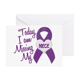 Missing My Niece 1 PURPLE Greeting Cards (Pk of 20
