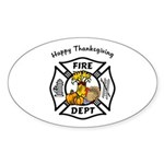 Thanksgiving Firefighter Oval Sticker (10 pk)