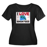 I Love Manatees Women's Plus Size Scoop Neck Dark