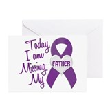 Missing My Father 1 PURPLE Greeting Cards (Pk of 1