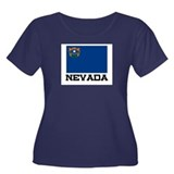 Nevada Flag Women's Plus Size Scoop Neck Dark T-Sh