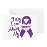 Missing My Brother 1 PURPLE Greeting Cards (Pk of