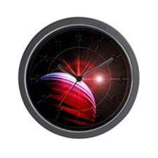 Red Sunrise in Outer Space Wall Clock