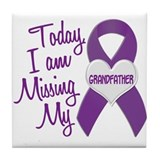 Missing My Grandfather 1 PURPLE Tile Coaster
