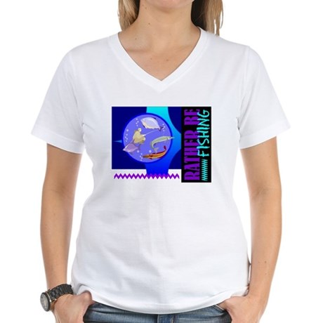 Rather Be Fishing Women's V-Neck T-Shirt