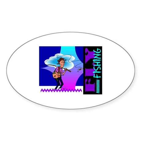 Fly Fishing Oval Sticker (10 pk)