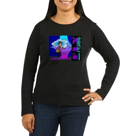 Fly Fishing Women's Long Sleeve Dark T-Shirt