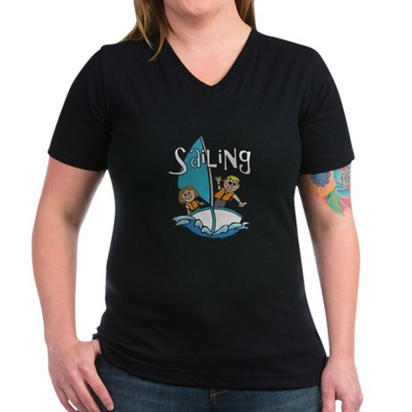 Sailing Women's V-Neck Dark T-Shirt
