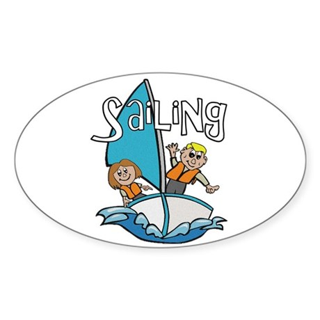 Sailing Oval Sticker (50 pk)
