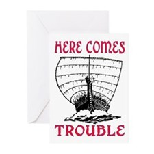 HERE COMES TROUBLE (VIKING) Greeting Cards (Pk of