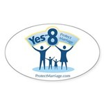 Yes on 8 Protect Marriage Oval Sticker (10 pk)
