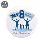 "Yes on 8 Protect Marriage 3.5"" Button (10 pac"