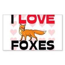 I Love Foxes Rectangle Decal