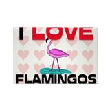 I Love Flamingos Rectangle Magnet