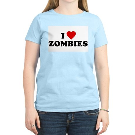 I Love [Heart] Zombies Womens Pink T-Shirt