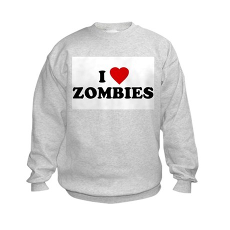I Love [Heart] Zombies Kids Sweatshirt