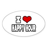 """I Love Happy Hour"" Oval Decal"