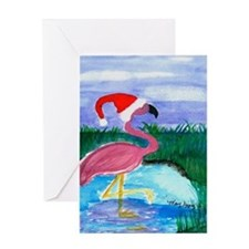 Santa Flamingo Greeting Card