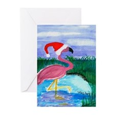 Santa Flamingo Greeting Cards (Pk of 10)