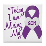 Missing My Son 1 PURPLE Tile Coaster