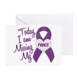 Missing My Fiancé 1 PURPLE Greeting Cards (Pk of 2