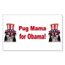 Obama Pug Mama Rectangle Decal