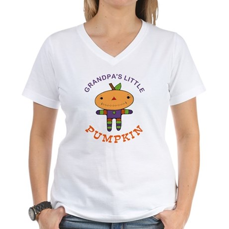 Grandpa's Little Pumpkin Women's V-Neck T-Shirt