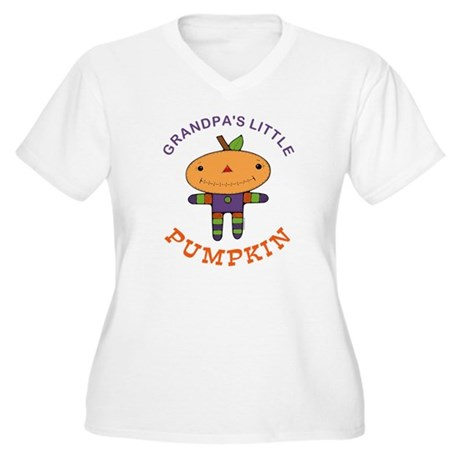 Grandpa's Little Pumpkin Women's Plus Size V-Neck
