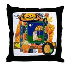 Scrapbook Husky Halloween Throw Pillow
