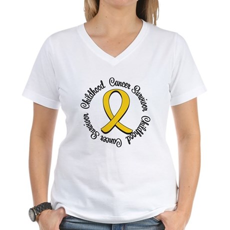 Childhood Cancer Hope Women's V-Neck T-Shirt