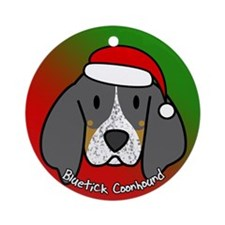 Cartoon Bluetick Coonhound Christmas Ornament